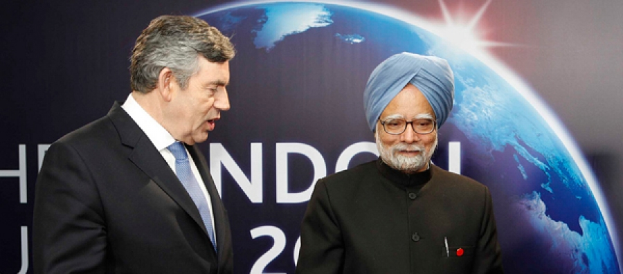 India's Prime Minister, Manmohan Singh is greeted by the then British Prime Minister Gordon Brown at the London G20 Summit in 2009. India has emerged as an important member of G20 to be able to influence and contribute towards the reshaping of the world economic and financial order.