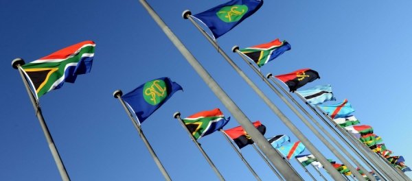 SADC Flags at the entrance of Pretoria