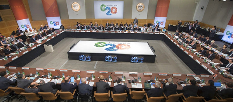 Finance Ministers and Bank Governors from the G20 meet during the IMF/World Bank Meetings October 10, 2014 at the IMF Headquarters in Washington, DC.