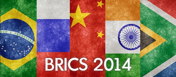 Montage of flags from the BRICS member countries
