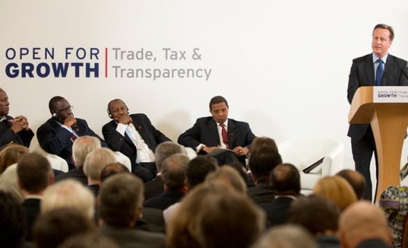 David Cameron speaks at the G8 Tax Trade and Transperency conference 15 June 2013, with African leaders.