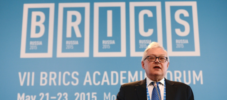Russia's deputy foreign minister Sergei Ryabkov speaking at the 7th BRICS Academic Forum, 21-23 May 2015.