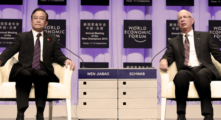 Former Premier Wen Jiabao with Professor Klaus Schwab, CEO of the WEF, in China last year. China's economic reform process, widely regarded to have stagnated during the Jintao –Jinbao era, is now being reinvigorated, and may lead to support for a new multilateral investment treaty.