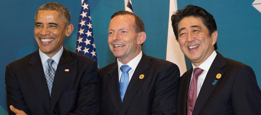 US President Barack Obama, Australia's Prime Minister Tony Abbott and Japan's Prime Minister Shinzo Abe meeting during the G-20 Leaders' Summit in Brisbane.