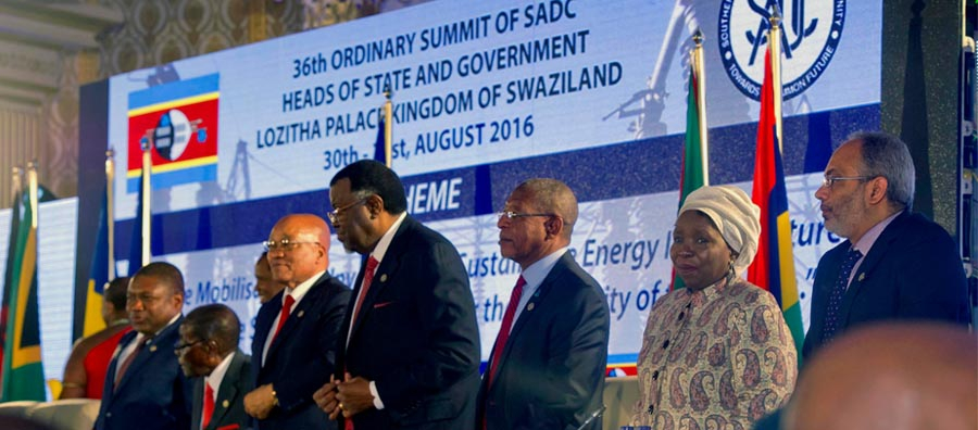 Heads of State and Government attending the 36th Southern African Development Community (SADC) Double Troika Summit